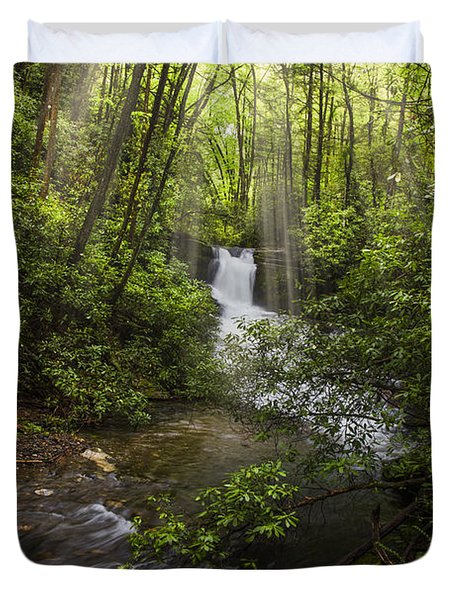 Waterfall In The Forest Duvet Cover by Debra and Dave Vanderlaan