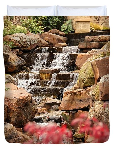 Waterfall In The Garden Duvet Cover