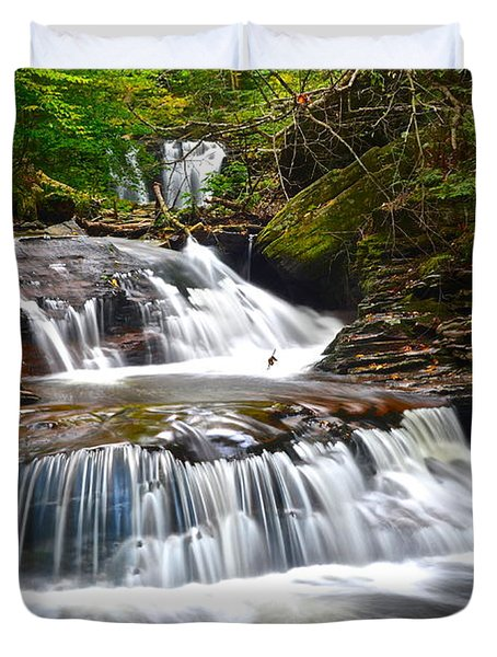 Waterfall Oasis Duvet Cover by Frozen in Time Fine Art Photography
