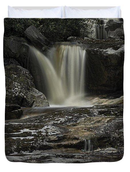 Waterfall Reflection On Big Run River  Duvet Cover by Dan Friend