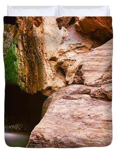 Waterfall Rushing Through The Rocks Duvet Cover