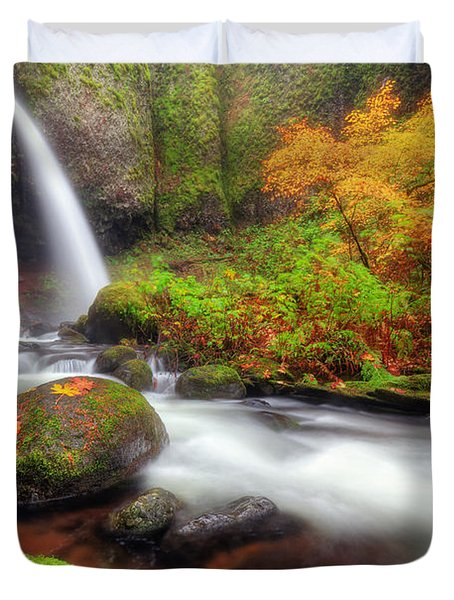 Waterfall With Autumn Colors Duvet Cover