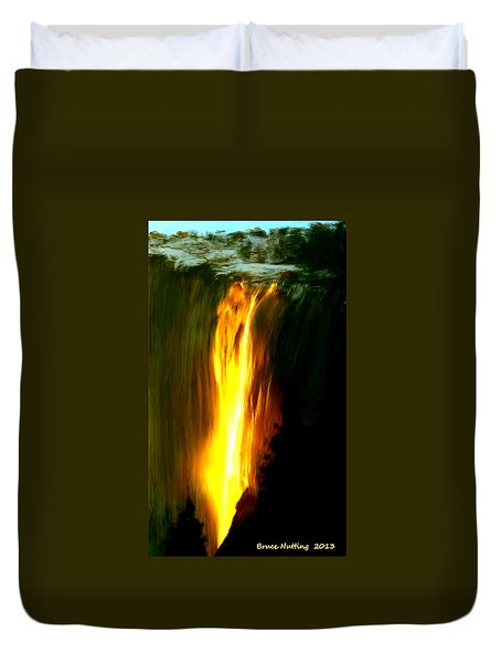 Duvet Cover featuring the painting Waterfalls By Light by Bruce Nutting