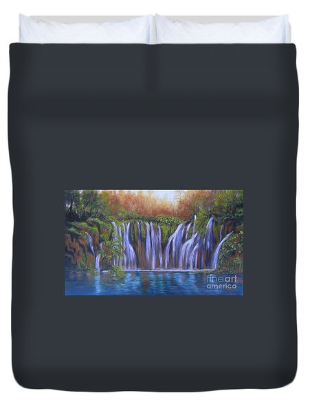 Duvet Cover featuring the painting Waterfalls - Plitvice Lakes by Vesna Martinjak