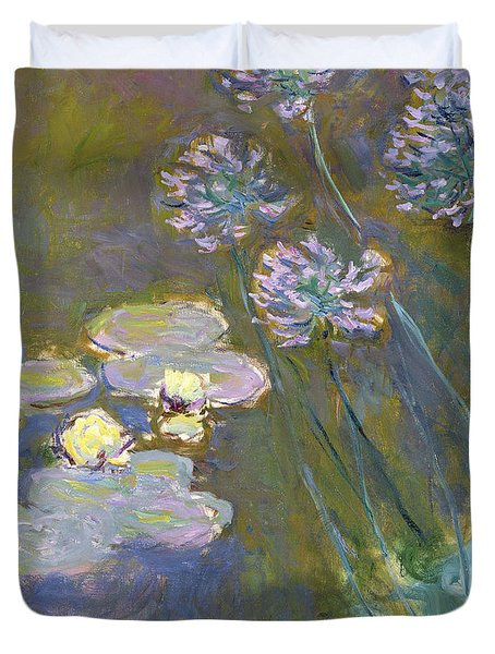 Waterlilies And Agapanthus Duvet Cover