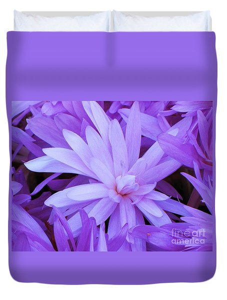 Waterlily Crocus Duvet Cover by Michele Penner