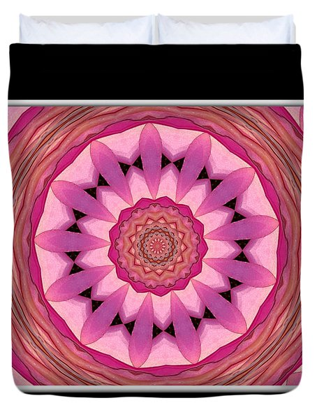 Waterlily Flower Kaleidoscope 3 Duvet Cover by Rose Santuci-Sofranko