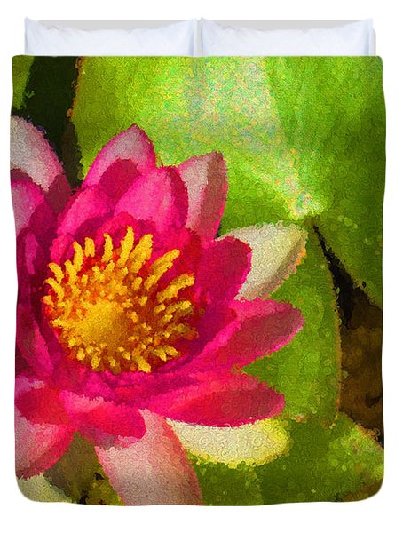 Waterlily Impression In Fuchsia And Pink Duvet Cover