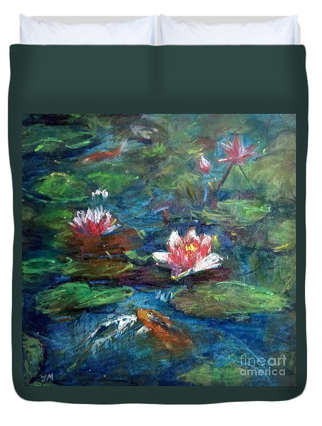 Duvet Cover featuring the painting Waterlily In Water by Jieming Wang