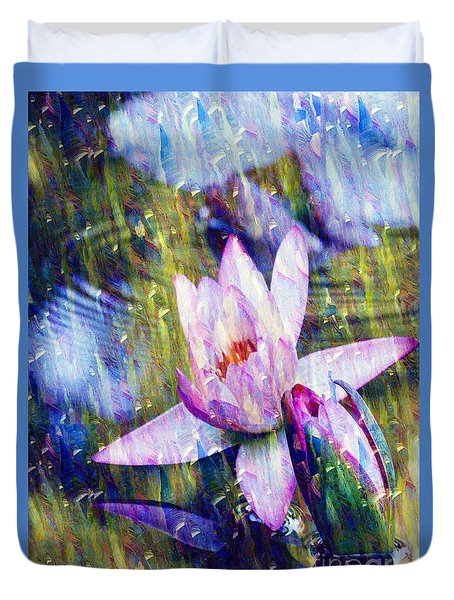 Purple Waterlily Paradise Duvet Cover