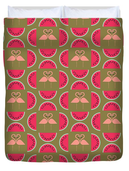 Watermelon Flamingo Print Duvet Cover