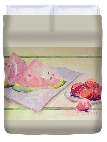 Duvet Cover featuring the painting Watermelon by Marilyn Zalatan