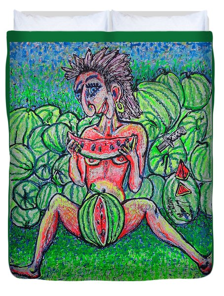 Duvet Cover featuring the painting Watermelon Sale/sketch/ by Viktor Lazarev