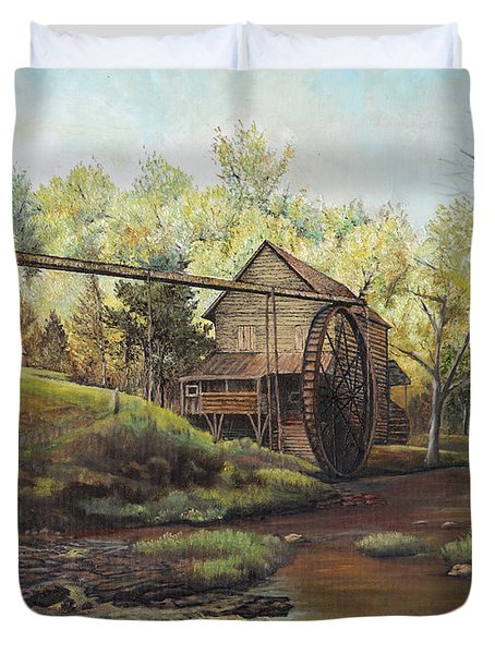 Duvet Cover featuring the painting Watermill At Daybreak  by Mary Ellen Anderson