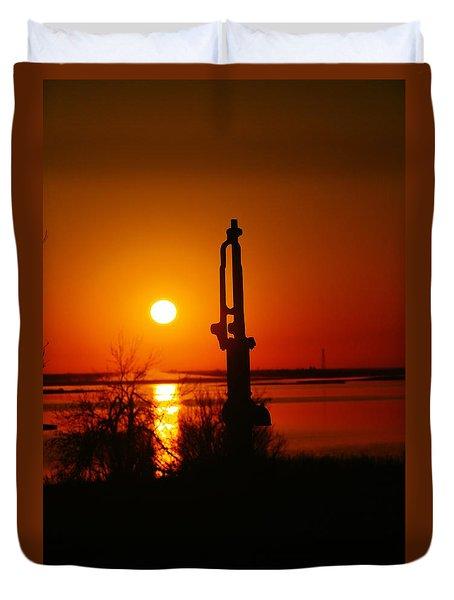 Waterpump In The Sunrise Duvet Cover by Jeff Swan