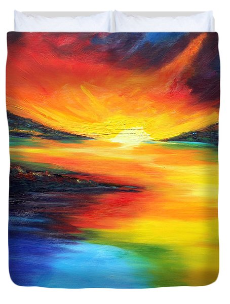 Duvet Cover featuring the painting Waters Of Home by Meaghan Troup