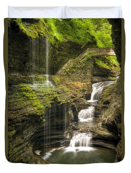Watkins Glen Falls Duvet Cover by Anthony Sacco