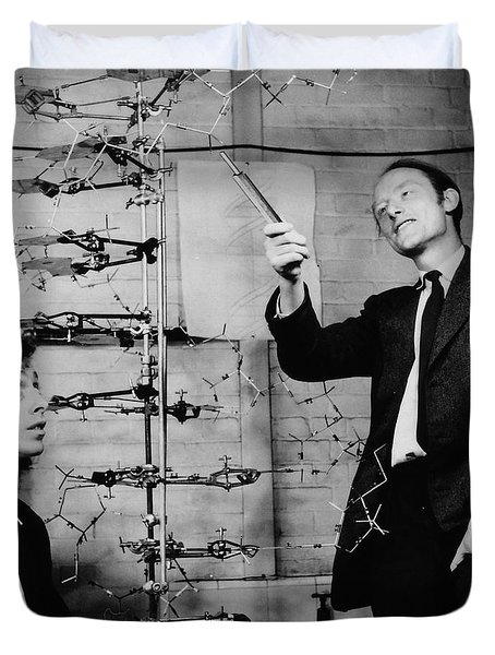 Watson And Crick With Dna Model Duvet Cover