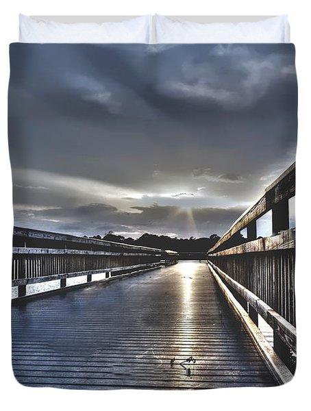 Watson Bayou Pier Hdr Duvet Cover by Debra Forand