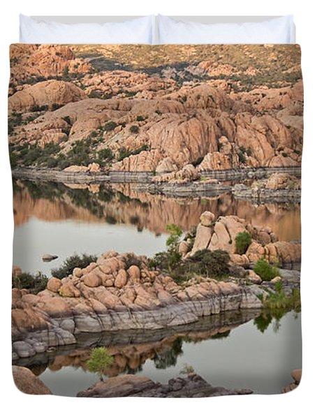Watson Lake Sunset Duvet Cover by Angie Schutt