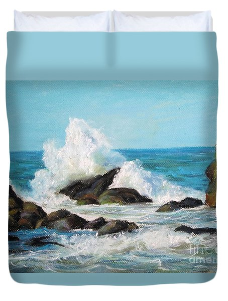 Duvet Cover featuring the painting Wave by Jieming Wang