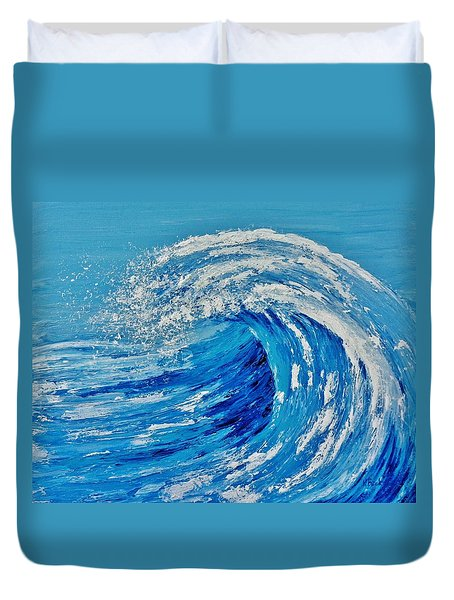 Duvet Cover featuring the painting Wave by Katherine Young-Beck