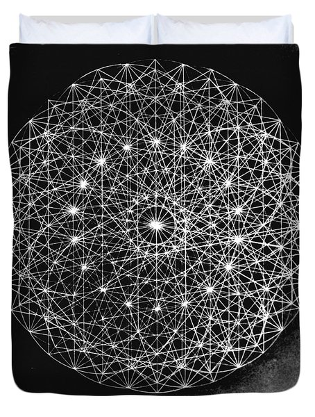 Duvet Cover featuring the drawing Wave Particle Duality Black White by Jason Padgett