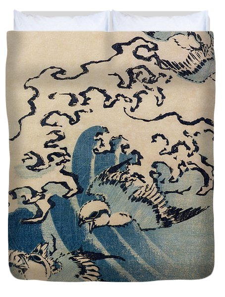 Waves And Birds Duvet Cover