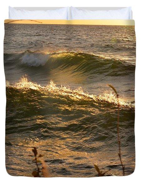 Waves At Sunrise Duvet Cover