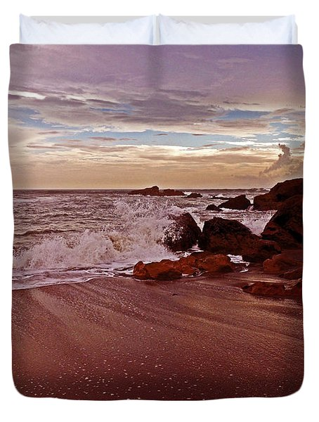 Waves Break Hands Shake Duvet Cover by Lydia Holly