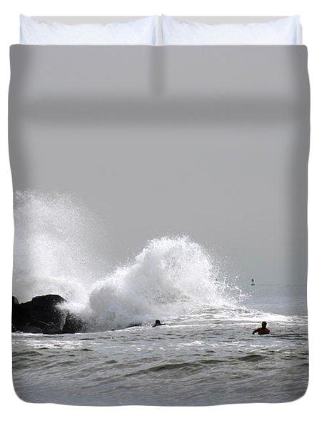 Waves Crash Against Beach 91st Jetty Duvet Cover by Maureen E Ritter