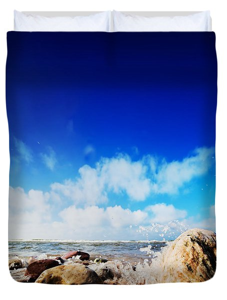 Waves Hiting Rocks On The Sunny Beach Duvet Cover by Michal Bednarek