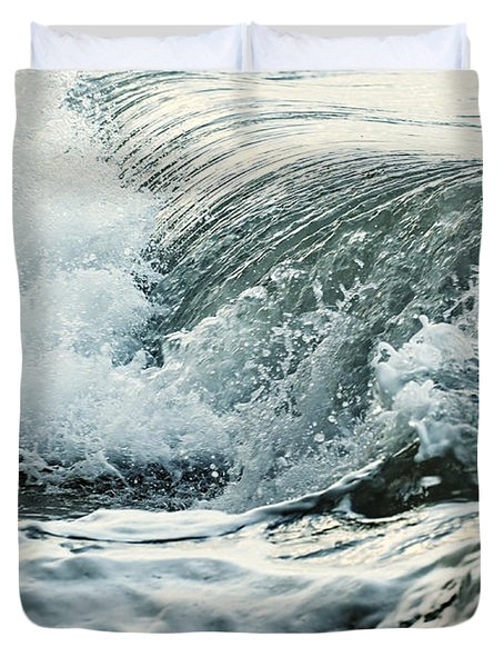 Waves In Stormy Ocean Duvet Cover