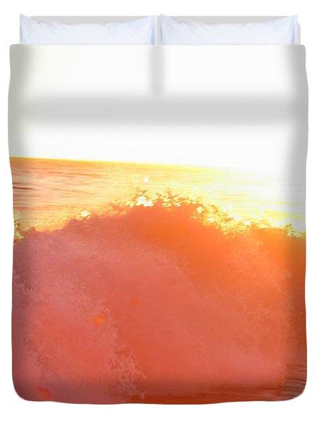 Waves In Sunset Duvet Cover