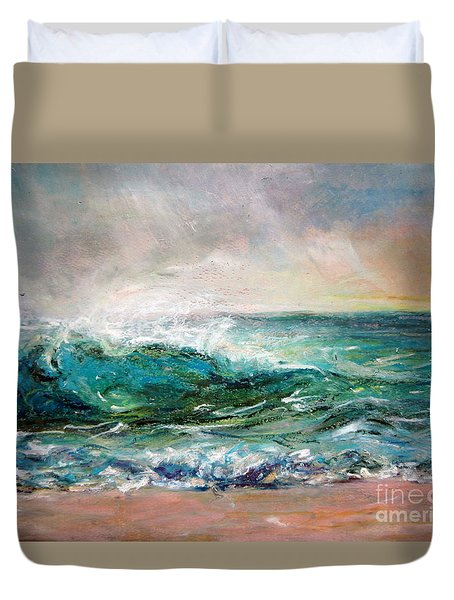 Duvet Cover featuring the painting Waves by Jieming Wang