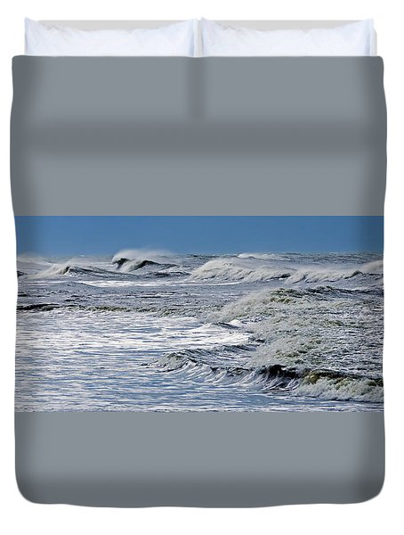 Waves Off Sandfiddler Rd Corolla Nc Duvet Cover by Greg Reed
