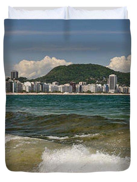 Waves On Copacabana Beach Duvet Cover