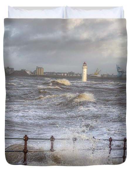 Waves On The Slipway Duvet Cover