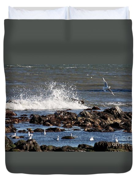 Waves Wind And Whitecaps Duvet Cover by John Telfer
