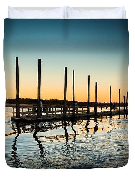 Wavy Sunset Kings Park New York Duvet Cover