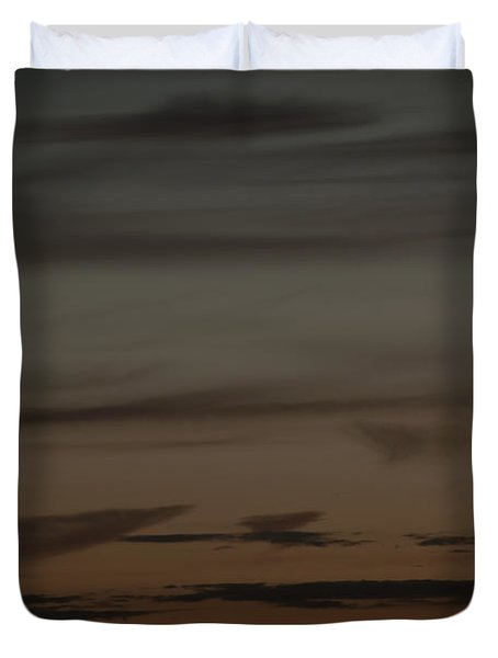 Waxing Crescent Moon Over Purple And Orange Evening Sky Duvet Cover by Julis Simo