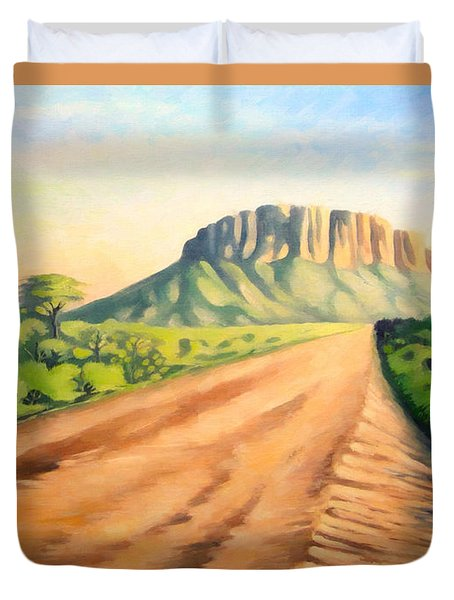 Duvet Cover featuring the painting Way To Maralal by Anthony Mwangi