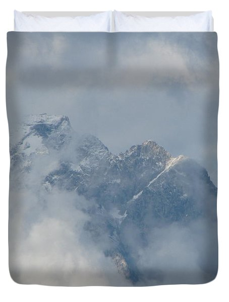 Duvet Cover featuring the photograph Way Up Here by Greg Patzer