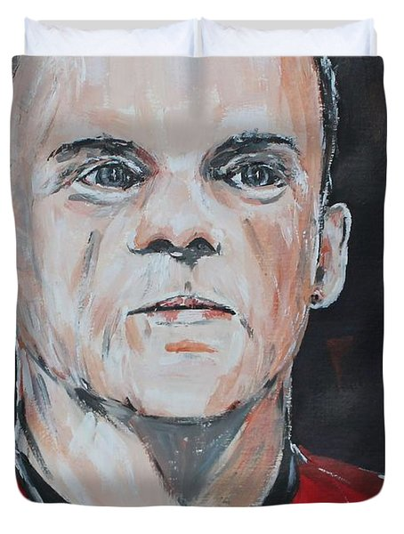 Wayne Rooney Duvet Cover by John Halliday