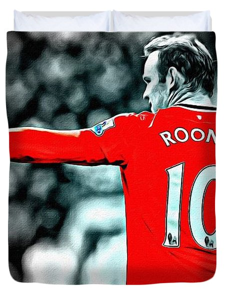 Wayne Rooney Poster Art Duvet Cover by Florian Rodarte