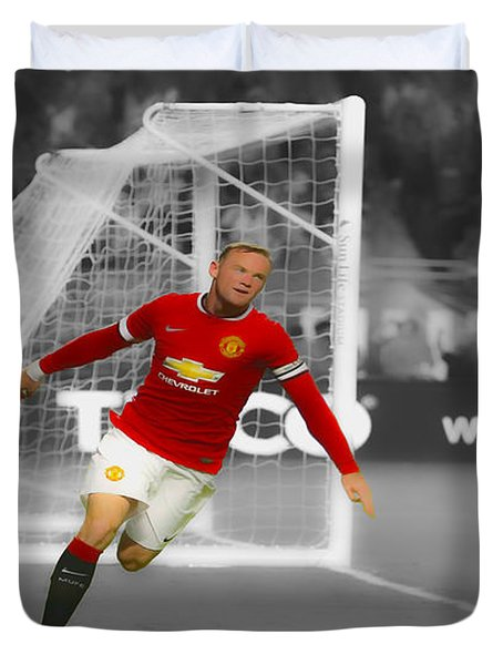 Duvet Cover featuring the digital art Wayne Rooney Scores Again by Brian Reaves