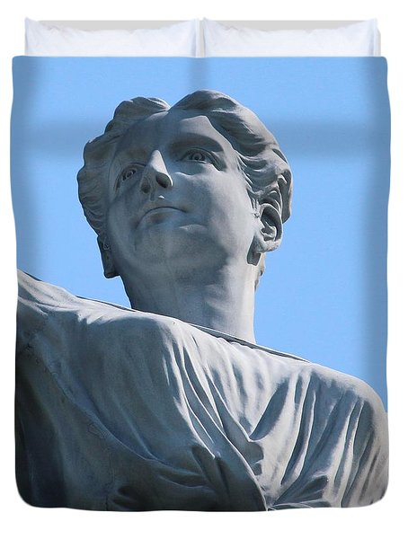 Duvet Cover featuring the photograph Waynesburg University Statue by Cynthia Snyder