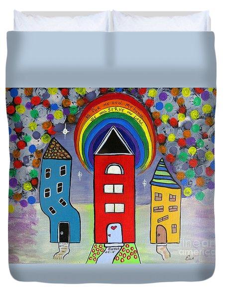 We Choose To Serve - Original Whimsical Folk Art Painting Duvet Cover