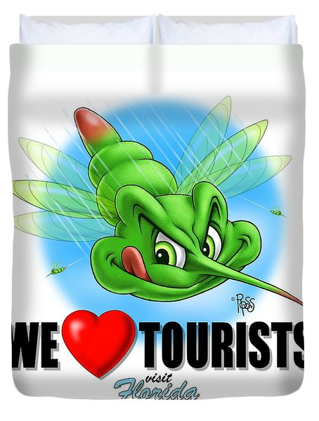 Duvet Cover featuring the digital art We Love Tourists Mosquito by Scott Ross
