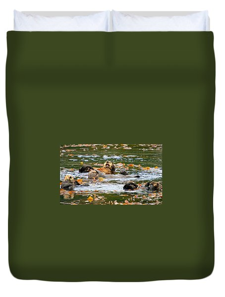 We Otter Be In Pictures Duvet Cover by Bob Hislop